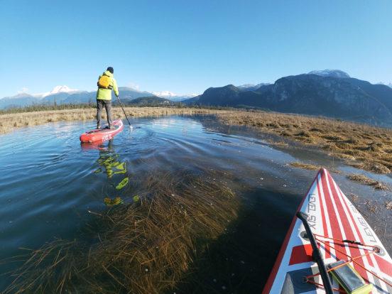 Paddleboarding along Squamish-Estuary, BC.