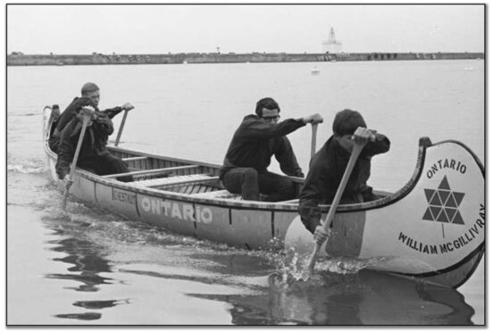 """Ontario Voyageurs"" practise canoeing in Toronto Harbour, May 4, 1967."