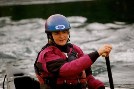 Fiona Hough paddling a canoe in British Columbia