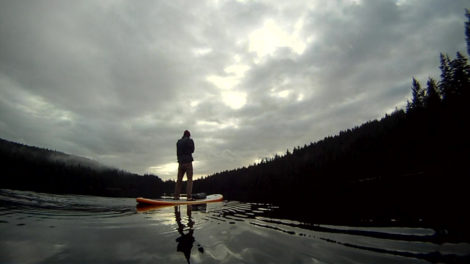 Stand up paddleboard on a cloudy day